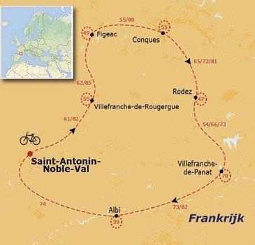 routekaartje Fietsvakantie Aveyron, Lot en Tarn