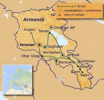 routekaartje Wandelvakantie Armenië - Culturele wandelreis in de zuidelijke Kaukasus