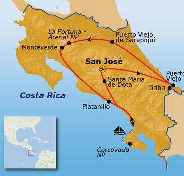 routekaartje Rondreis Costa Rica, Puur Sawadee Pop-Up