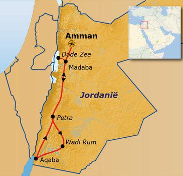 routekaartje Rondreis Jordanië Hoogtepunten