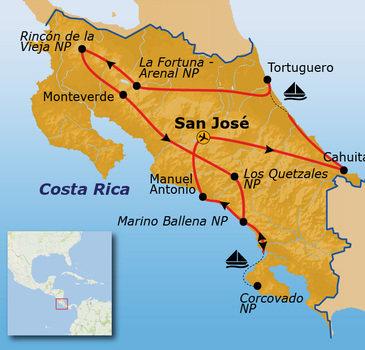 routekaartje Rondreis Costa Rica