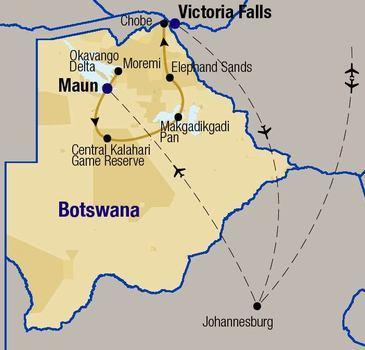 routekaartje Rondreis - Het beste van Botswana