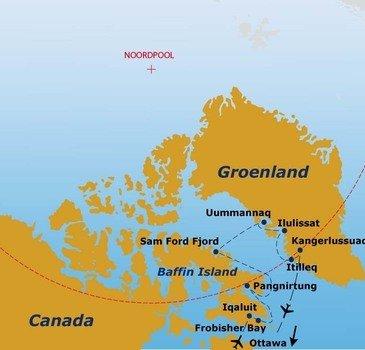 routekaartje Rondreis Canada & Groenland