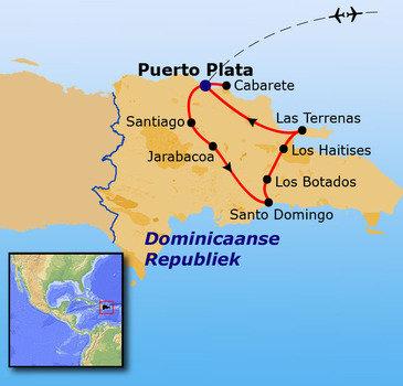 routekaartje Rondreis Dominicaanse Republiek