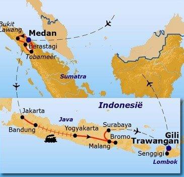 routekaartje Rondreis - Het beste van Indonesië