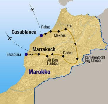 routekaartje Rondreis - Het beste van Marokko
