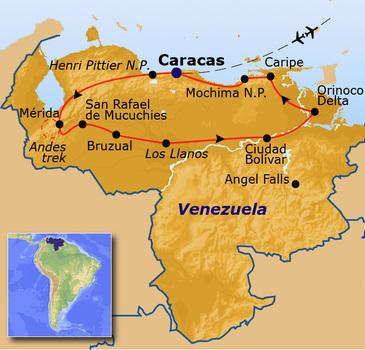 routekaartje Rondreis Venezuela