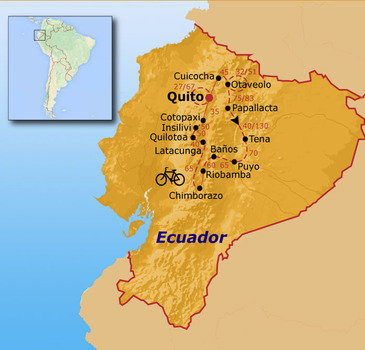 routekaartje Fietsvakantie Ecuador (hotel)