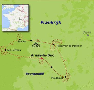 routekaartje Fietsvakantie Frankrijk - Bourgondië families