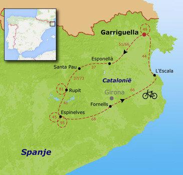 routekaartje Fietsvakantie Spanje - Catalonië families