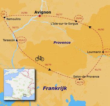 routekaartje Fietsvakantie Provence voor families