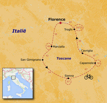 routekaartje Fietsvakantie Toscane