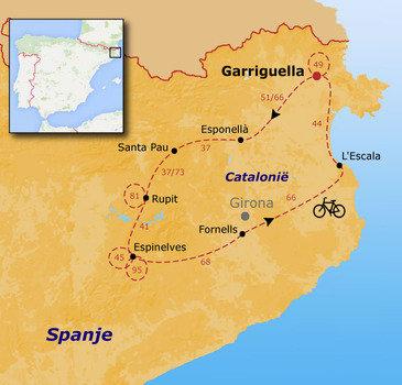 routekaartje Fietsvakantie Spanje - Catalonië