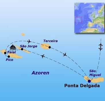 routekaartje Rondreis Azoren