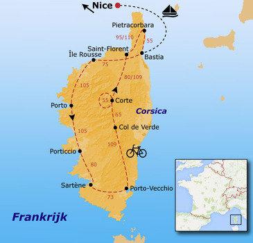 routekaartje Fietsvakantie Corsica
