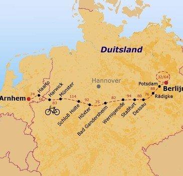 routekaartje Fietsvakantie Duitsland
