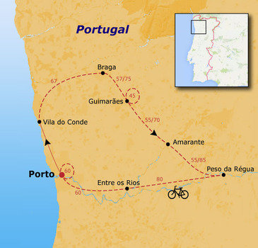 routekaartje Fietsvakantie Portugal