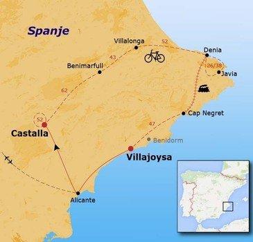 routekaartje Fietsvakantie Spanje