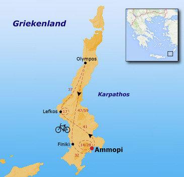 routekaartje Fietsvakantie Griekenland