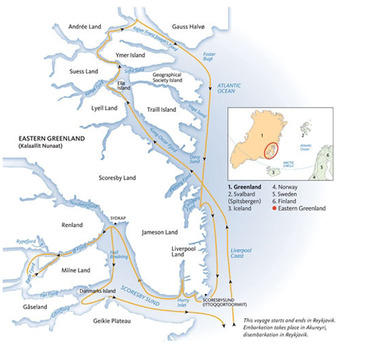 routekaartje Rondreis Groenland