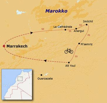 routekaartje Fietsvakantie Marokko (hotel)