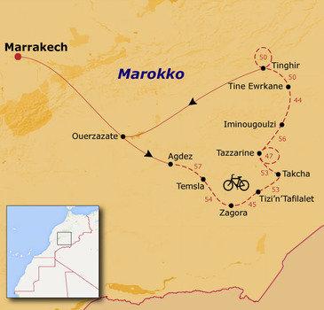 routekaartje Fietsvakantie Marokko