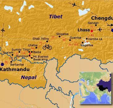 routekaartje Fietsvakantie Tibet & Nepal