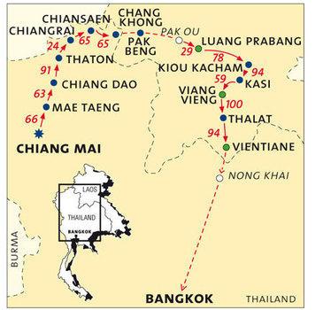 routekaartje Fietsvakantie Thailand & Laos