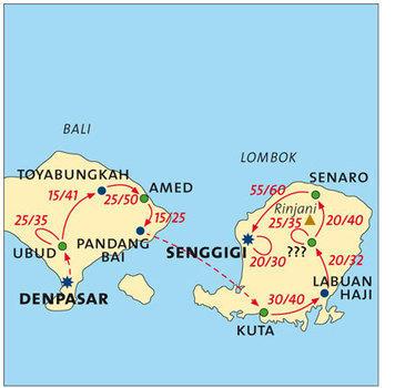 routekaartje Fietsvakantie Indonesië