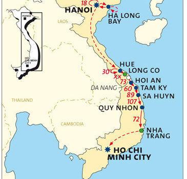 routekaartje Fietsvakantie Vietnam