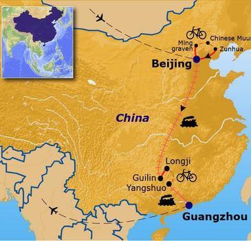 routekaartje Fietsvakantie China