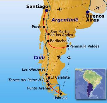 routekaartje Rondreis Patagonië