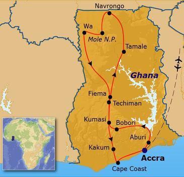 routekaartje Rondreis Ghana