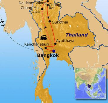 routekaartje Rondreis Thailand Pop-Up