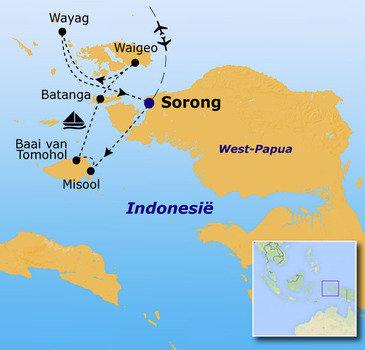 routekaartje Rondreis Indonesië - West-Papua