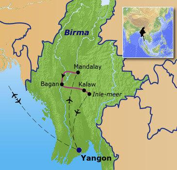 routekaartje Familiereis Birma / Myanmar Kerst