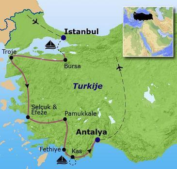 routekaartje Familiereis Turkije Hoogtepunten