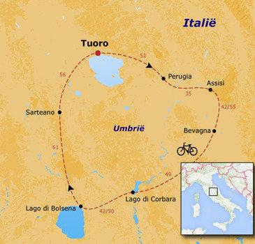 routekaartje Fietsvakantie Italië - Umbrië Families  (vanaf 16 jaar)