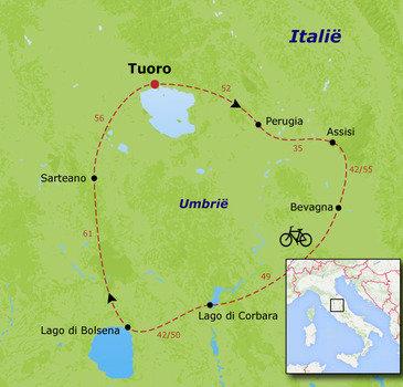 routekaartje Fietsvakantie Italië - Umbrië families