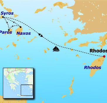 routekaartje Fietsvakantie Griekenland - Cycladen (hotel)