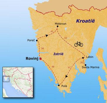 routekaartje Fietsvakantie Kroatië