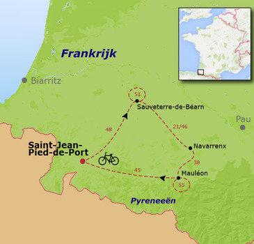 routekaartje Fietsvakantie Voet van de Pyreneeën - Multi Actief voor families