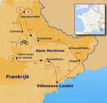 routekaartje Fietsvakantie Alpes Maritimes