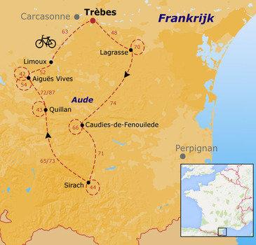 routekaartje Fietsvakantie Frankrijk - Ariège en Corbières