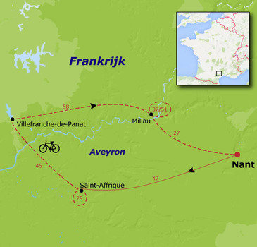 routekaartje Fietsvakantie Aveyron - Multi Actief voor families