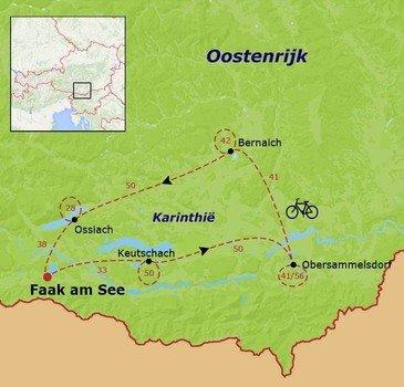 routekaartje Fietsvakantie Oostenrijk - Karinthië families