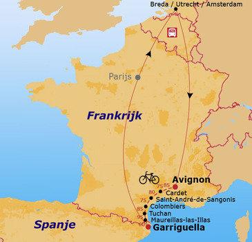 routekaartje Fietsvakantie Frankrijk
