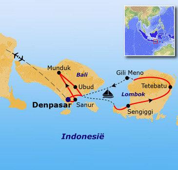 routekaartje Rondreis Indonesië: Bali en Lombok