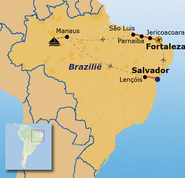 routekaartje Rondreis Brazilië