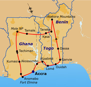 routekaartje Rondreis Ghana, Togo en Benin